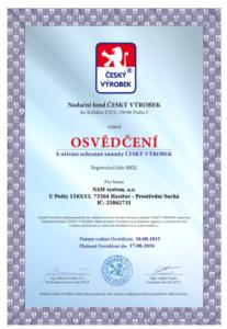 Osvědčení český výrobek 2015/2016