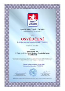 Osvědčení český výrobek 2016