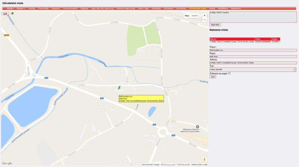 Zobrazení uživatelských míst v mapě ONI system