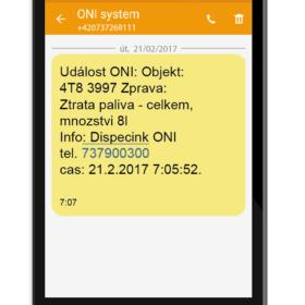 SMS o krádeži paliva zaslaná po nastartování vozidla