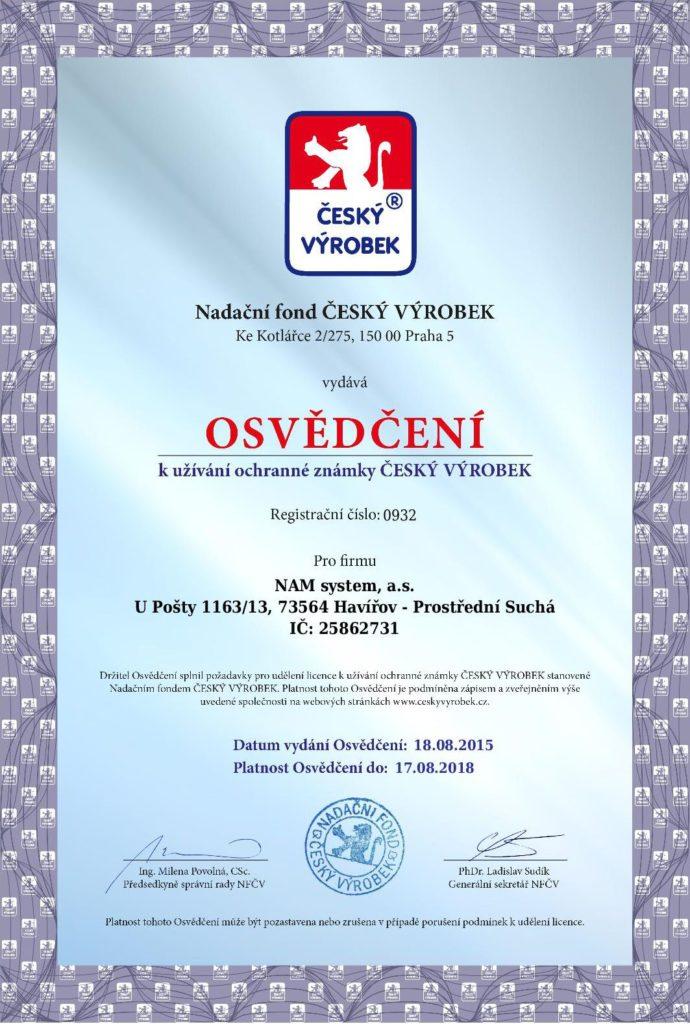 Osvědčení Český výrobek