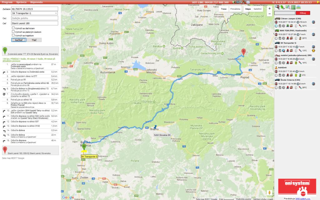 Navigácia a plánovanie tras v ONI system
