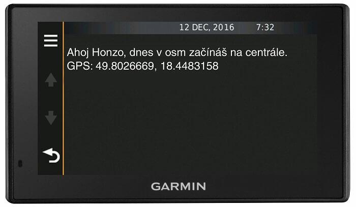 Navigace Garmin komunikace s řidičem ONI system