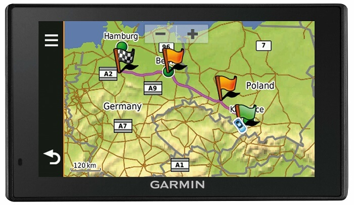 Komunikace s řidičem Garmin zobrazení naplánované trasy
