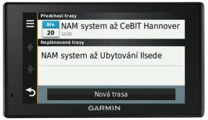 Komunikace s řidičem Garmin zobrazení všech naplánovaných tras