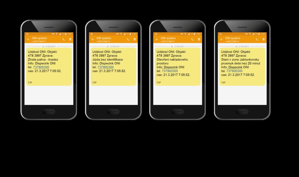 Příklady SMS notifikací na mobil kamiony autobusy