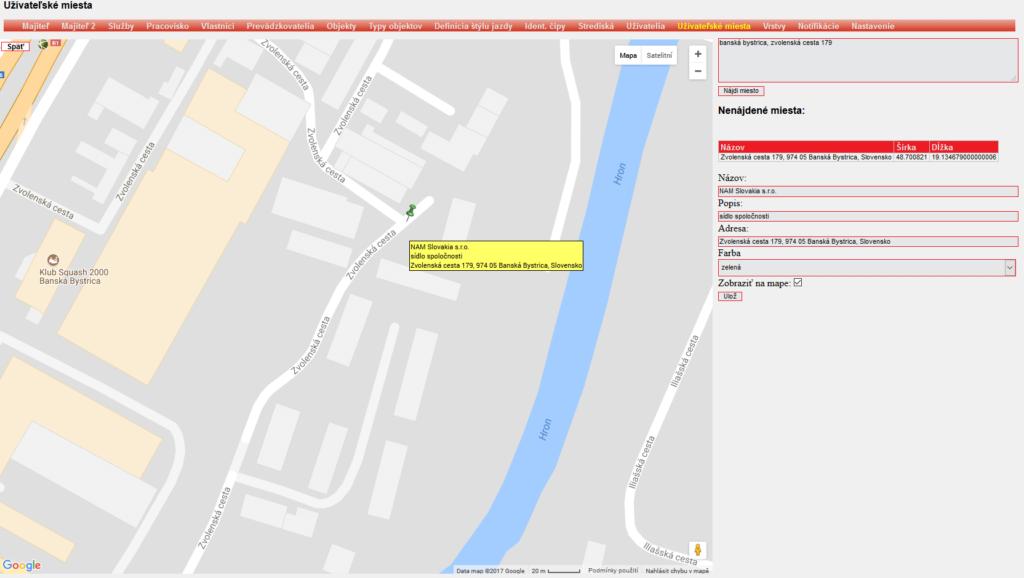 Zobrazenie užívateľských miest v mape ONI system