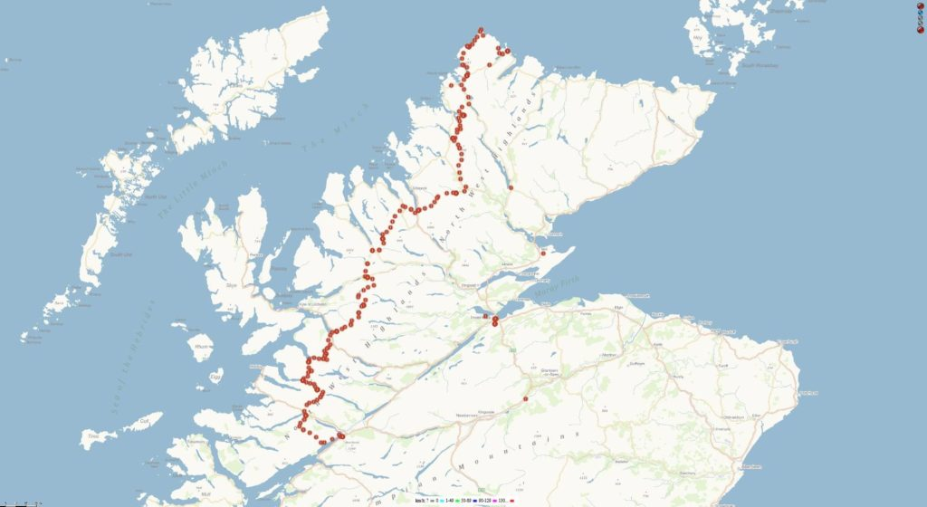 Cape Wrath Trail s trackerem NCL 21